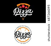 pizza hand written lettering... | Shutterstock . vector #687266095