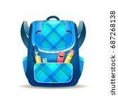 funny schoolbag  pen  pencil... | Shutterstock .eps vector #687268138
