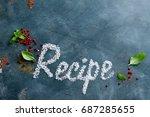 various spices and recipe word...   Shutterstock . vector #687285655
