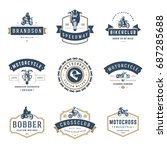 motorcycles logos templates... | Shutterstock .eps vector #687285688