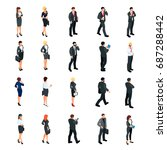 set of isometric businessmen... | Shutterstock .eps vector #687288442