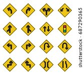 Traffic Sign Yellow Set Vector...
