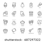 20 line icons on cookery theme. ... | Shutterstock .eps vector #687297322