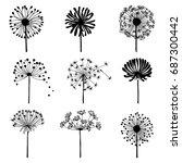 set of doodle dandelions.... | Shutterstock .eps vector #687300442