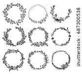 hand drawn vector set of floral ... | Shutterstock .eps vector #687300538