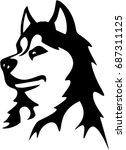 vector of a dog husky on white... | Shutterstock .eps vector #687311125