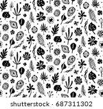 seamless trendy black pattern... | Shutterstock .eps vector #687311302