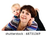 mother and daughter isolated on ... | Shutterstock . vector #68731369