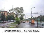 moscow  leninsky prospekt  bus...   Shutterstock . vector #687315832