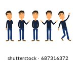 different boy  emotions and... | Shutterstock .eps vector #687316372