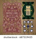 vector vintage items  label art ... | Shutterstock .eps vector #687319435