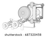 wire frame industrial equipment.... | Shutterstock .eps vector #687320458