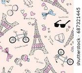 cute eiffel tower vector... | Shutterstock .eps vector #687321445