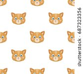 cat muzzle icon in cartoon... | Shutterstock .eps vector #687323356