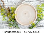 small wooden plate as a place... | Shutterstock . vector #687325216