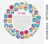 pet care concept in circle with ... | Shutterstock .eps vector #687331666