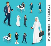isometric business man and... | Shutterstock .eps vector #687336628