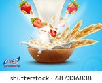 delicious oat flakes with raw... | Shutterstock .eps vector #687336838