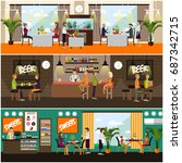 set of pub  brasserie and... | Shutterstock . vector #687342715