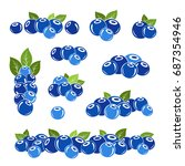 blueberry icons collection.... | Shutterstock .eps vector #687354946
