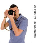professional male photographer ... | Shutterstock . vector #68736142