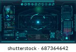 radar screen. vector... | Shutterstock .eps vector #687364642