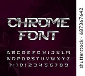 chrome alphabet font. metallic... | Shutterstock .eps vector #687367642
