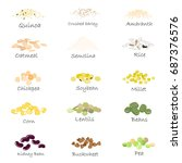 vector set of cereal and grain... | Shutterstock .eps vector #687376576