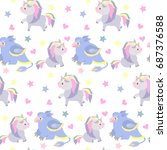 seamless pattern with magic... | Shutterstock .eps vector #687376588