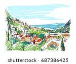 remarkable georgian landscape... | Shutterstock .eps vector #687386425