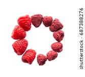 Small photo of Freeze dried and fresh raspberry on a white background in the circle. Lyophilization. Food for astronauts. Isolated