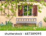 beautiful window in burghausen... | Shutterstock . vector #687389095