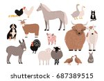 farm pets colorful collection.... | Shutterstock .eps vector #687389515
