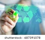 view of a technology ecologic... | Shutterstock . vector #687391078