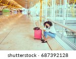 woman sad and unhappy at the... | Shutterstock . vector #687392128