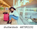 woman sad and unhappy at the... | Shutterstock . vector #687392152