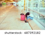 woman sad and unhappy at the... | Shutterstock . vector #687392182