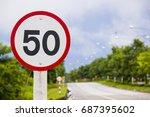 50 km   h speed limit sign | Shutterstock . vector #687395602