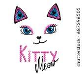 kittty face on white background ... | Shutterstock .eps vector #687396505
