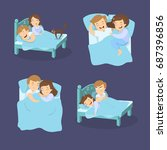 snoring couples set. man and... | Shutterstock .eps vector #687396856