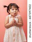 little cute children girl very...   Shutterstock . vector #687397402