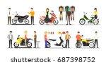 motorcycle shop set. people buy ... | Shutterstock .eps vector #687398752