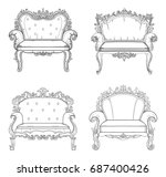 baroque furniture rich set... | Shutterstock .eps vector #687400426