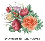 hand painted watercolor... | Shutterstock . vector #687400966