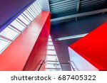 staircase painted in red.... | Shutterstock . vector #687405322
