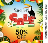 summer sale poster with toucan | Shutterstock . vector #687407152