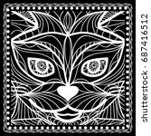 black and white paisley bandana ... | Shutterstock .eps vector #687416512