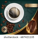 cup with a coffee and beans on... | Shutterstock .eps vector #687421135