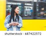 Black Girl Typing Smart Phone - Fine Art prints