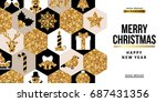 merry christmas and happy new... | Shutterstock .eps vector #687431356